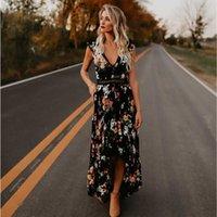 roupas de senhoras de estilo boêmio venda por atacado-Estilo boêmio verão vestido longo sem mangas sem encosto até o chão fit flare decote em v flor roupas festa moda feminina dress -n