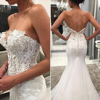 Wholesale strapless wedding dresses flower chiffon for sale - Group buy Mermaid Strapless Sleeveless Wedding Dresses Bead Lace Tulle Wedding Dress Bridal Gowns Cheap Bride Formal Gown
