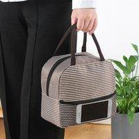 ingrosso contenitore di tela-Portable Stripe lunch pranzo Borse termica Borsa termica Canvas Tote contenitore borsa per le donne gli uomini kid