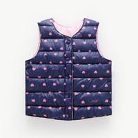 chaleco de bebé al por mayor-2019 Ropa de abrigo para niños Baby Boys Down Vest Coat Ropa para niños Chaleco sin mangas E Estampado floral Chalecos de algodón para niños