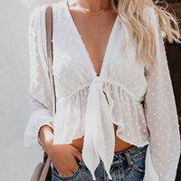 beyaz bluz saydam kollar toptan satış-Fener Kol Crop Top Polka Dot Derin V yaka Dantel Up Ruffles Yeni Bluz Kadınlar Seksi Şeffaf Beyaz Gömlek blusas