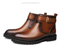 zapatos de cuero marrón para hombres al por mayor-Botas Hombre corta de los hombres botas de cuero de los hombres de gran tamaño de los zapatos de cuero de vaca Negro trabajo El trabajo del cuero de Brown Hacer