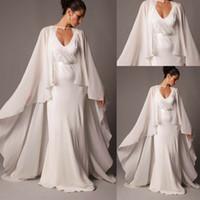 Wholesale wedding formal bolero resale online - Ivory Bridal Cape Women Wedding Cloak Chiffon Long Jacket Plus Wrap Custom Made Formal Bride Bolero