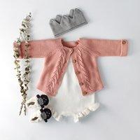 ingrosso baby jumpsuits bianchi all'ingrosso-Boutique Abbigliamento bambina bambina Tuta pagliaccetto bianca in maglia con cardigan jacquard 100% cotone 2019 Ins rosa blu 0-18M all'ingrosso