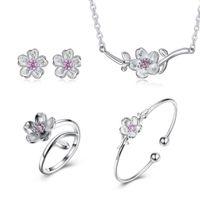 Wholesale stud chain link earrings for sale - Group buy Women Fashion Jewelry Set S925 Silver Cherry Link Chain Zircon Pendant Necklace Ring Stud Bracelet Earrings