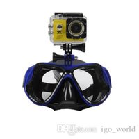 Wholesale goggles camera resale online - Professional Diving Mask Swimming Goggles Scuba Snorkel Anti Fog Goggles for Underwater Sports Camera Silicone Diving Goggles