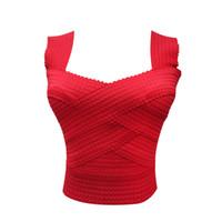 ingrosso v ombelico collo-Top in stile occidentale indossano Wild Sexy Exposed Navel Bandage Canotta con scollo a V Vest elasticizzato Y19042801