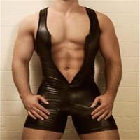 ingrosso tuta sexy lycra-Mens Gays Bondage Fetish Sexy PVC Catsuit Tuta Playsuit Clubwear Tuta vestito L973 MLXLXXL3XL