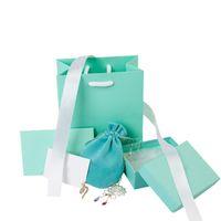 caixa de presente de luxo rectangular venda por atacado-luxo designer de jóias Embalagem conjunto de papel caixas de presente para Jóias Quadrados 925 colar de prata Sterling Brinco Pulseira Anel