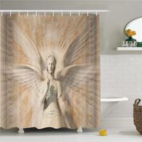 ingrosso vintage tende da doccia-Sculture Shower Curtain, Statue of Angel Woman in Medieval Cathedral Site Design mitico in stile vintage, set di arredo bagno in tessuto