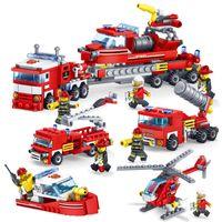 juguetes playmobil al por mayor-348 piezas de bomberos camiones de helicópteros de coche bloques de construcción de barcos compatibles ciudad ladrillos playmobil juguetes para niños boymx190820