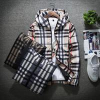 herren windbreaker plus größe großhandel-Mode Jacke Lässig Windjacke Langarm Plus Größe M-5XL Herren Jacken Reißverschluss Tasche Mens Hoodie Mantel Plaid Jacken