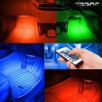 toyota canbus оптовых-Светодиодная лампа RGB с декоративной атмосферой Внутренняя лампа автомобиля Музыкальный акустический контроль Семицветная лампа с пультом дистанционного управления 12В Блок питания