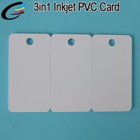 визитные карточки pvc оптовых-230pcs пустой струйный печати пластиковых карт ПВХ ключевых тегов бизнес комбо карты 3in1