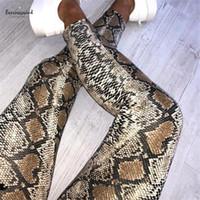 leopar derileri toptan satış-Yüksek Kadınlar Bel Pantolon Sıska Baskı Yılan Derisi Desen Leopar Kalem Pantolon İnce Bayan Pantolon Pantolon Kadınlar Tozluklar