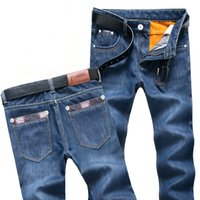 Wholesale jeans for mens wholesale for sale - 2019 Mens Winter Blue Fleece Jeans Lined Stretch Denim Warm Jeans For Men Designer Slim Fit bikrer youth