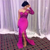 fuchsia berühmtheit kleider großhandel-Chic Fuchsia Split Ballkleider Meerjungfrau afrikanische Schulter lange Ärmel nigerianischen Spitze bodenlangen formale Celebrity Abend Party Kleider
