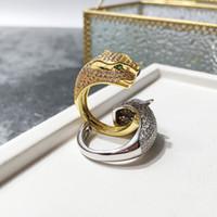 anillo de diamantes chapado en oro venta al por mayor-Venta caliente Moda Señora Brass Full Diamond Leopard Panther Compromiso de boda Oro 18K Chapado Anillos abiertos 2 Color Un tamaño