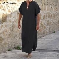 islam erkekler toptan satış-Artı Boyutu 5XL 4XL Müslüman Erkekler İslam Bez Jubah Thobe Elbiseler Kaftan Cep Katı Arapça Dubai Yaz Kısa Kollu Abaya giyim