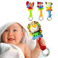 campainha de brinquedos venda por atacado-Novo design de pelúcia Do Bebê Brinquedos Chocalho Animal Sinos de Mão Animal Elefante Anel estilo chocalho brinquedo Frete Grátis