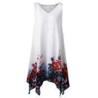 Wholesale plus size irregular hem dress for sale - Women Summer Tank Dress Women Plus Size Floral Print Chiffon Sleeveless Irregular Hem Mini Dress Boho Beach Sukienki