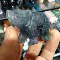 Wholesale china animal figurines for sale - Group buy Natural Purple Fluorite Crystal Quartz Bear Hand carved figurine animal carving