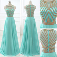 Wholesale aqua bridesmaid party dresses for sale - Group buy 2019 Aqua Long Evening Dresses Cheap In Stock Real Photos Beaded Jewel Neck A Line Prom Party Gowns Floor Length Chiffon Designer Occasion