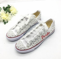 Wholesale bridesmaids flat shoes for sale - Group buy Luxury Pearls Bride Wedding Shoes Handmade Major Beaded Outdoor Beach Casual Canvas Plimsoll Bridesmaid Sneaker Flat Shoes