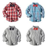 adretter stilstreifen großhandel-Jungen Streifen Hemd Krawatte Plaid Langarm Einreiher Hemd England Stil Frühling Kinder Designer Kleidung 2-7 T