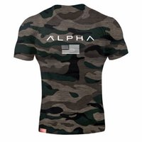 Wholesale shirt muscle xxl for sale - Group buy ALPHA T Shirt Men Summer Wear Gym Fitness Tight Mens Workout T shirt Homme Short Sleeves Slim Fit Cotton Shirts Muscle Brother