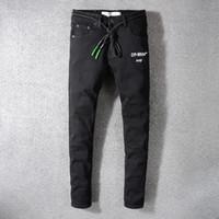 avrupa ebatlı kot toptan satış-Yüksek kaliteli Avrupa ve Amerikan Yüksek sokak Moda Erkek Jeans BEYAZ Baskılı Elastik Siyah Slim-fit kot 29-40 Boyut