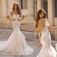 vestido de noiva de noiva sexy sereia venda por atacado-Berta 2019 Sereia Vestidos de Casamento Querida Lace Apliques de Vestidos De Noiva Varrer Trem Sexy Backless Praia vestidos de noiva