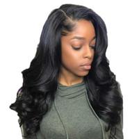 ingrosso capelli profondi delle parrucche d'onda del corpo profondo-Parrucca anteriore del merletto delle parrucche dei capelli umani anteriori del merletto dell'onda del corpo di 13 * 6 parte profonda con i capelli brasiliani di Remy dei capelli del bambino per le donne nere