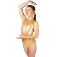 trajes de dança de ouro meninas venda por atacado-Speerise Meninas Metálico Brilhante Sem Mangas de Ouro de Gola Alta Leotards Para Crianças Spandex Ballet Dance Leotards Bodysuits Trajes
