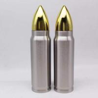 izole edilmiş spor şişeleri toptan satış-Yaratıcı 1000 ml Bullet Şekli İçme Şişe 32 oz Paslanmaz Çelik Vakum Yalıtımlı su Şişeleri Şişesi Açık spor su Bardağı