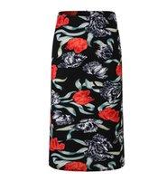 blumendruck bleistift röcke großhandel-Frauen Blumendruck Mehrere Farbe Bleistift Midi Rock Weibliche Vintage Grundlegende Bodycon Röcke Saia Femininas