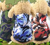 Wholesale New hot Fashion Pet Dog Puppy Costumes Camo Hoodies Hooded Sweatshirt Pullover Clothes Outfits Size XS XL