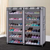 muebles de gabinetes de zapatos al por mayor-6 Fila 2 Línea de tela no tejida estante gris simple café muebles multifuncionales Q190605 de zapatos Gabinetes de almacenaje plegable de Polvo