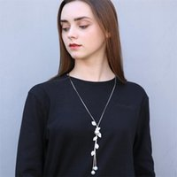 Wholesale asian girl collar resale online - Women new pearl leaf sweater chain new design long chain necklace vintage collar statement gleam pendant