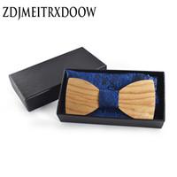 Wholesale christmas ties for men resale online - Christmas gift Wedding Wooden Bow Ties With Hanky Set Ties For Men DIY Design Mens Pocket Square Wood tie Gravata