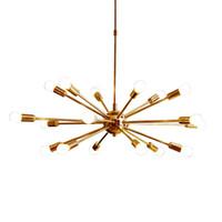 люминесцентные лампы оптовых-Modern Brass Sputnik Золотые железные Люстры E27 18 Arms Lamp Для гостиной спальни отель выставочный зал Домашнее освещение NO1