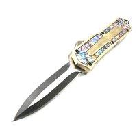 facas de abalone venda por atacado-escaravelho de ouro Abalone alça 9 modelos de dupla ação tática autodefesa dobrável EDC faca faca automática presente facas automáticas xmas