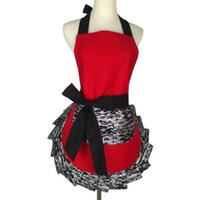 Wholesale sexy lace aprons for sale - Group buy kitchen accessories Lady s New Lace Flirty Apron with Pocket Retro Sexy Kitchen Cooking Apron for Women Girl wholes MarT5