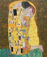 ingrosso pitture a olio gustav klimt-Dipinti ad olio di alta qualità Gustav Klimt The Kiss bellezza donna grafica per arredamento camera Dipinti a mano su tela con cornice pronta da appendere