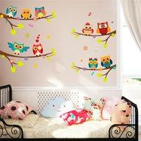 baykuş oda dekoru toptan satış-Karikatür baykuş şube duvar çıkartmaları çocuk odaları için oturma odası yatak odası ev dekor diy hayvan duvar çıkartmaları pvc posterler duvar sanat