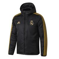 fatos de treino venda por atacado-19 20 Real Madrid algodão casaco para baixo Homem Jacket BALE Modric hoodie sweater treino de futebol outerwear roupas Hazard casaco de inverno de futebol