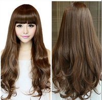 Wholesale long brown hair costume resale online - WIG Women s Long Curly Fluffy Full Hair With Bangs Brown Cosplay Costume Wigs