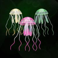 decorações do tanque de peixes das medusa venda por atacado-Nova Natação Artificial Efeito Glowing Medusa Aquário Decoração Fish Tank Underwater Planta Viva Luminosa Ornamento Paisagem Aquática