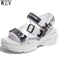 Wholesale korean men leather sandals for sale - Group buy Korean New casual Women sandals Platform thick bottom Sandals Peep toe Shoes Woman Casual buckles Sandals