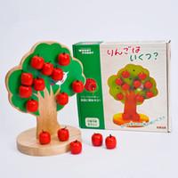 ingrosso giocattolo mela bambino-Di alta qualità in legno di melo magnetico di legno Giocattoli in legno di educazione precoce per bambini baby learnGrow matematic toy best gift